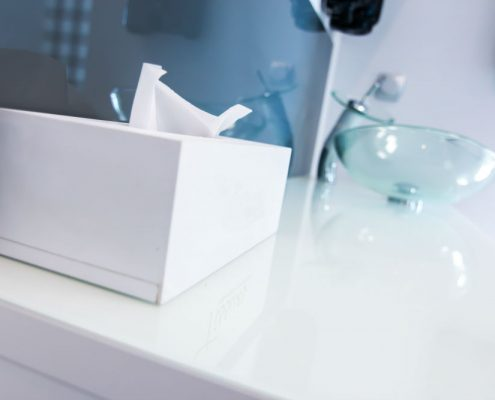 tissue box on basin